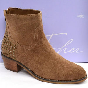 Marc Fisher Zen Brown Suede Studded Ankle Boots 6